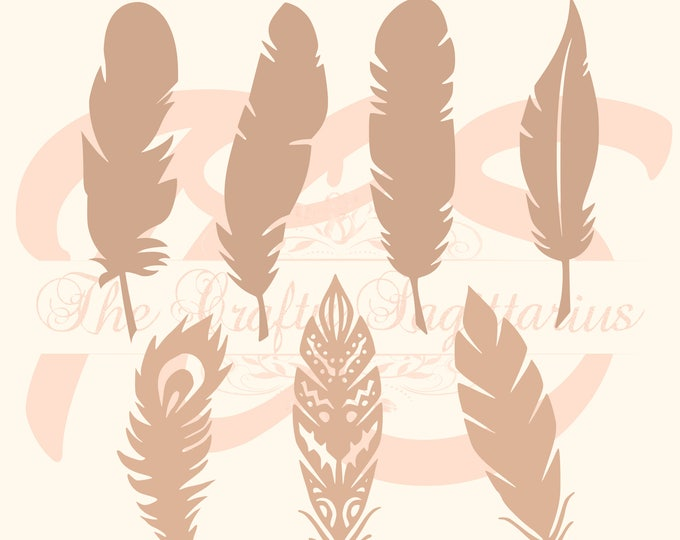 SVG Feathers Set-7 Kinds for your Paper Flower Arrangements- MACHINE use Only (Cricut n Silhouette) DIY & Handmade to Boast Bohemian looks