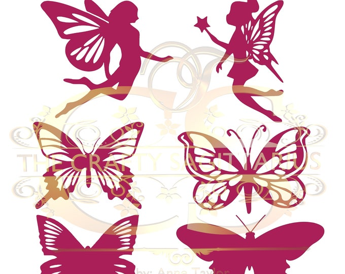 Svg/PNG Set 1-6 different Fairies & Butterflies for Paper Flowers- MACHINE use Only (Cricut and Silhouette) for Magical n Enchanting Looks