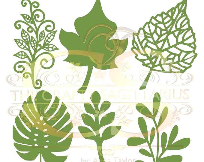 Set 7 Svg Png Dxf 6 different Leaves for Paper Flowers- MACHINE use Only (Cricut and Silhouette) DIY and Handmade Leaves Templates