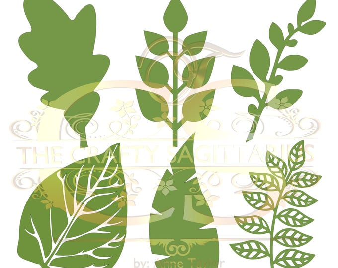 Svg Png Dxf Set 3-6 different Leaves for Paper Flowers- MACHINE use Only (Cricut and Silhouette) DIY and Handmade Leaves Templates