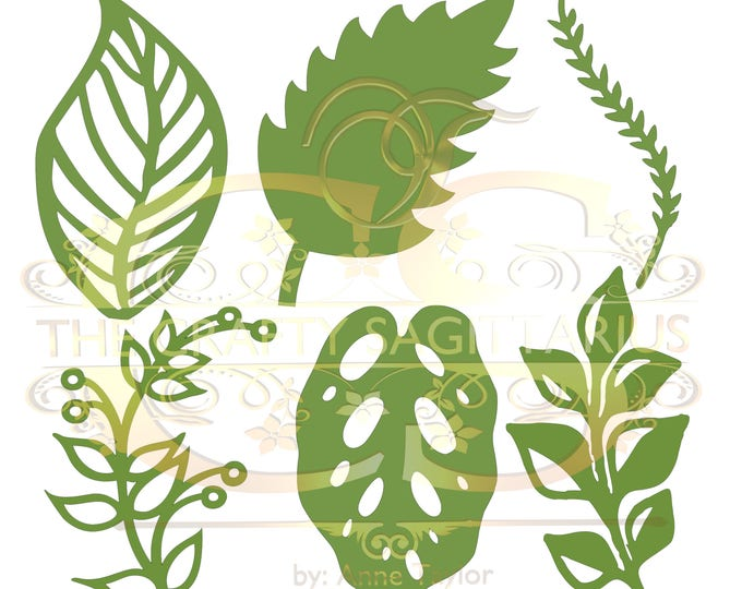 Svg PNG Dxf Set 2-6 different Leaves for Paper Flowers- MACHINE use Only (Cricut and Silhouette) DIY and Handmade Leaves Templates