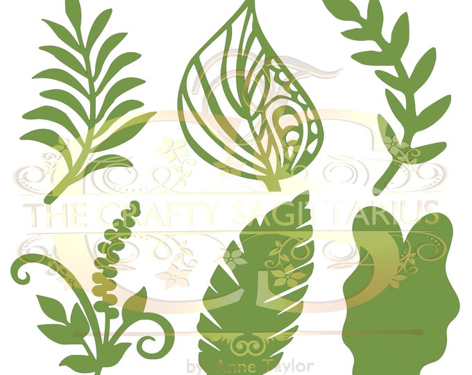 Svg PNG Dxf Set 4-6 different Leaves for Paper Flowers- MACHINE use Only Cricut and Silhouette DIY and Handmade Leaves Templates