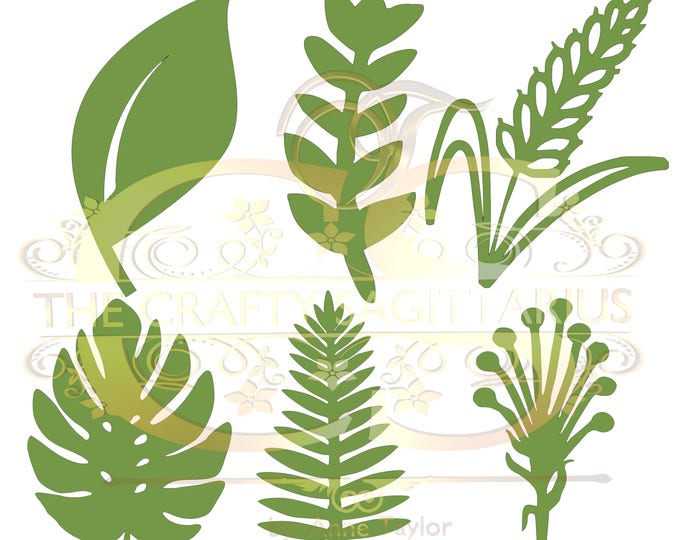 Svg PNG Dxf Set 6-6 different Leaves for Paper Flowers- MACHINE use Only (Cricut and Silhouette) DIY and Handmade Leaves Templates