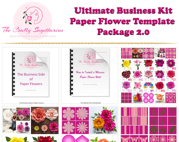 DIY PAPER FLOWERS Business Kit 2.0, Office Decor Prints, Paper Flower Templates, Home Decor Gifts, Digital Flower Art, Wedding Wall Flowers