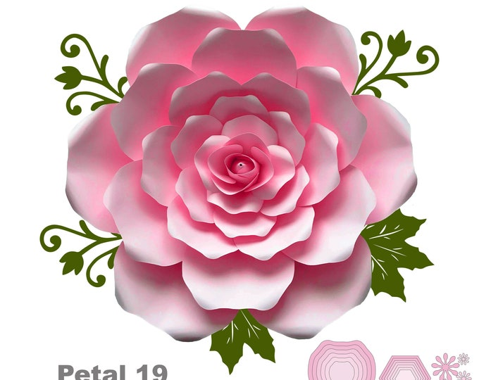 SVG PNG DXF Petal 19 Cut File Template for Diy Giant Paper Flowers w/ Rose bud, bases n flat centers for weddings n events flower backdrop