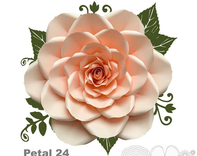 "PDF Petal 24 Printable DIY Giant Paper Flower Template Make Unlimited 20"" Rose or Various Sizes Paper Flowers w/ lots of Free Video Tutorial"