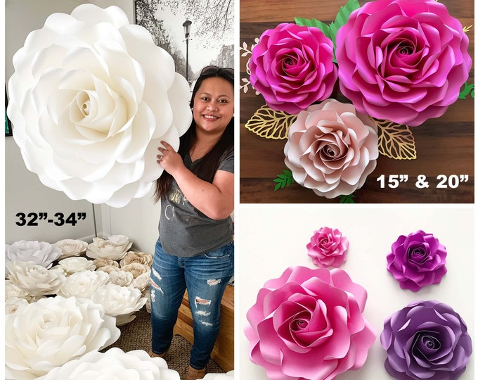 "PDF Rose 6 Family Printable Trace & Cut Files create unlimited 2"" to 34"" Roses various sizes paper flowers stencil not for cutting machines"