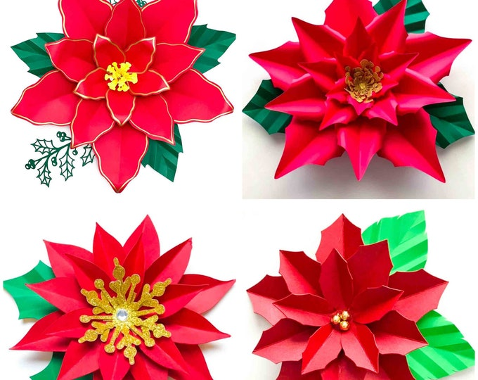 SVG PNG DXF 4 designs Poinsettia for Cricut and Cameo Cutting machine in making Christmas and Holiday Wall Decor