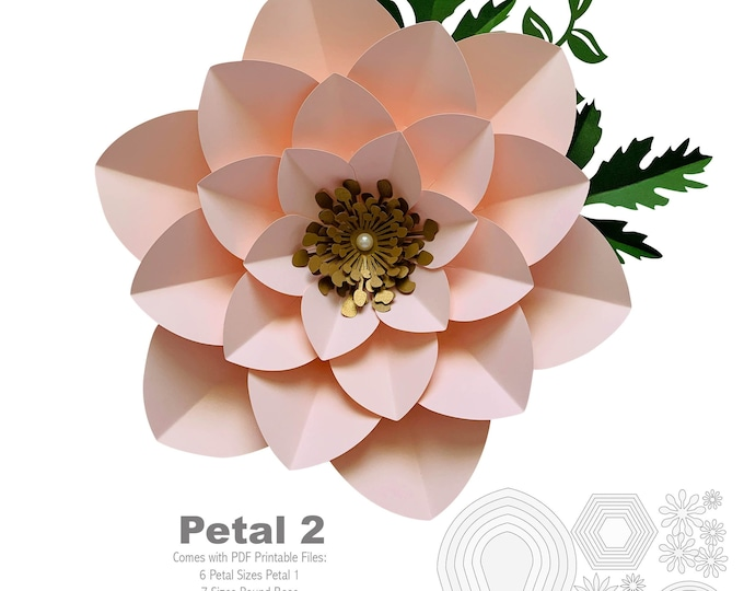 PDF Petal 2 Printable Paper Flowers Template Base flat Center 3d paper flowers printable Trace Cut File for DIY Giant Paper Flowers Origami