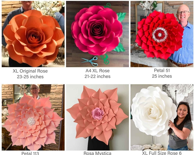 SVG PNG DXF 6-Giant Paper Flowers Design Combo 4 Cutting Machines xl large rose a4 xl rose xl full size rose 6 xl petal 113 51 rosa mystica