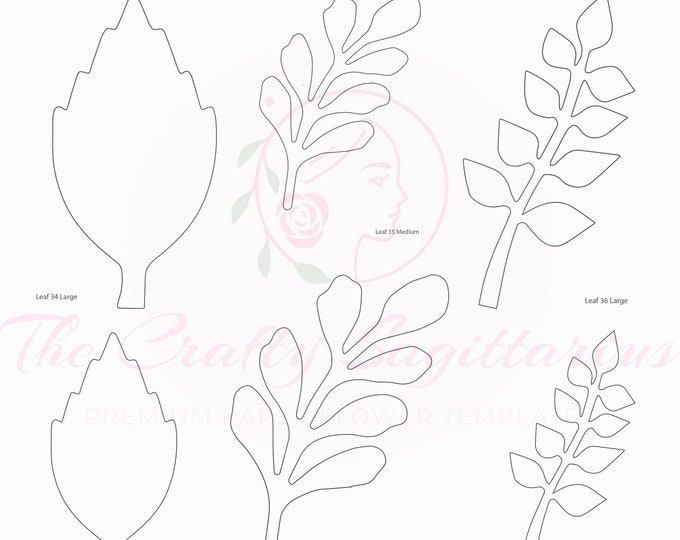 PDF Set 12 Leaves 3 different styles, 2 different Sizes Easy to Trace n Cut Greenery Pattern For your Paper Flowers & set: Instant Download