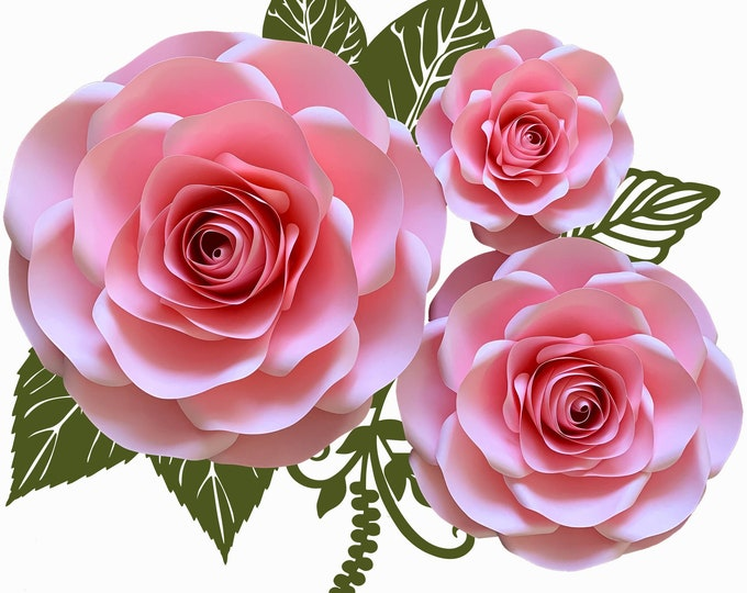 PDF 3RoseCombo Large Medium Small Roses Paper Flowers Paper Flower Templates Printable TraceNCut DIY Giant Paper Flower Design Flowers only