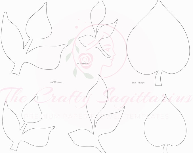 PDF Set 5 Leaves 3 different styles, 2 different Sizes Easy to Trace n Cut Greenery Pattern For your Paper Flowers and set: Instant Download