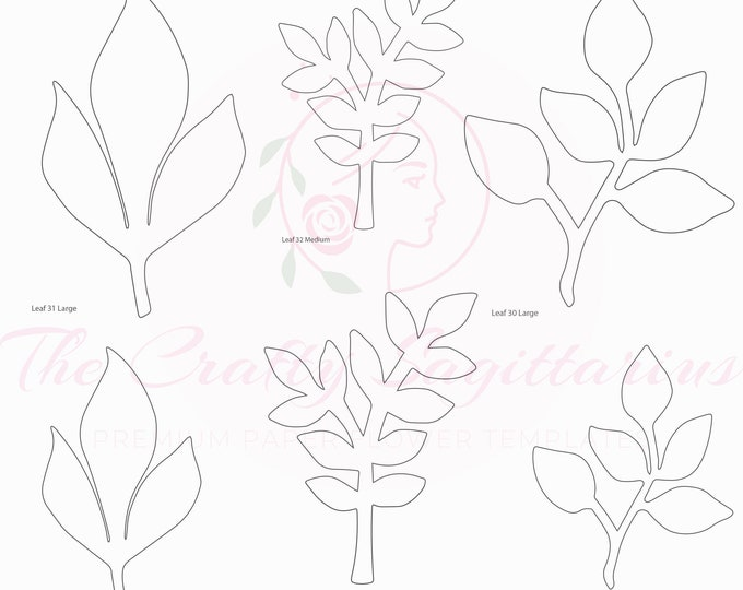 PDF Set 11 Leaves 3 different styles, 2 different Sizes Easy to Trace n Cut Greenery Pattern For your Paper Flowers & set: Instant Download