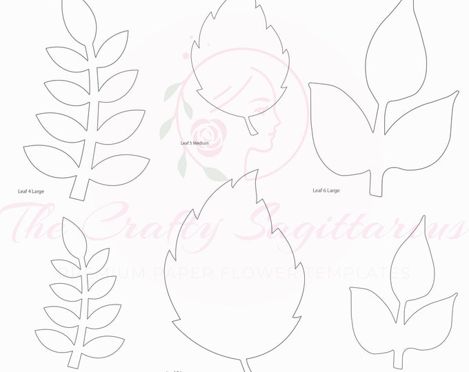 PDF Set 2 Leaves 3 different styles, 2 different Sizes Easy to Trace n Cut Greenery Pattern For your Paper Flowers and set: Instant Download