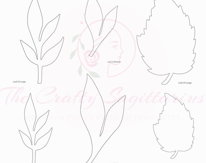 PDF Set 8 Leaves 3 different styles, 2 different Sizes Easy to Trace n Cut Greenery Pattern For your Paper Flowers and set: Instant Download