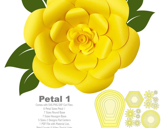SVG DXF Paper Flowers Petal 1 Template For Cutting Machine Flat Center Multiple Tutorials Diy Paper Flower Backdrop for Wedding & Events