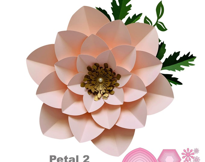 SVG PNG DXF Petal #2 Paper Flower Template with Base and Flat Center, Digital file for Cutting Machines 3d Large Paper Flowers