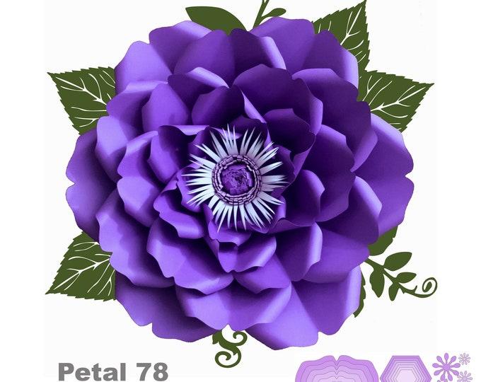 SVG PNG DXF Petal 78 Paper Flowers Template Cut Files Cutting Machine Ideal for flower backdrop, nursery decor, wedding decor, bridal shower