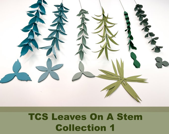 TCS Leaves  on a Stem Paper Flower Template; Complete Set, for Paper Flower Arrangements and Paper Flower Bouquet, Diy in SVG PNG Dxf Tiff