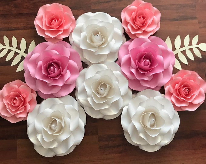 "SVG COMBO of Small and Mini Rose Paper Flower Template DIY Cricut and Silhouette machines ready Center Bud included 8-9"" and 5-6"""