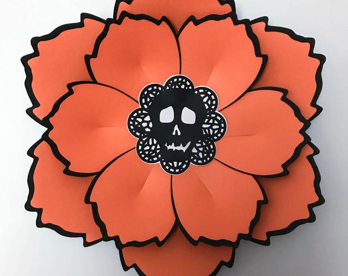 Paper Flowers -SVG Lacy Skull Paper Flower CENTER - Halloween Special