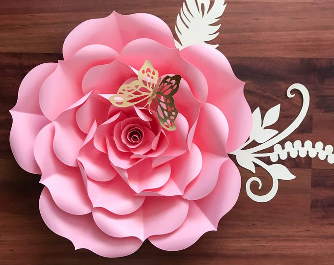"""Paper Flowers -PDF Petal #93 Rose Paper Flower Template- DIY Trace and Cut -Center Bud included (8-21"""" Paper Flowers and 19-21"""" Rose)"""