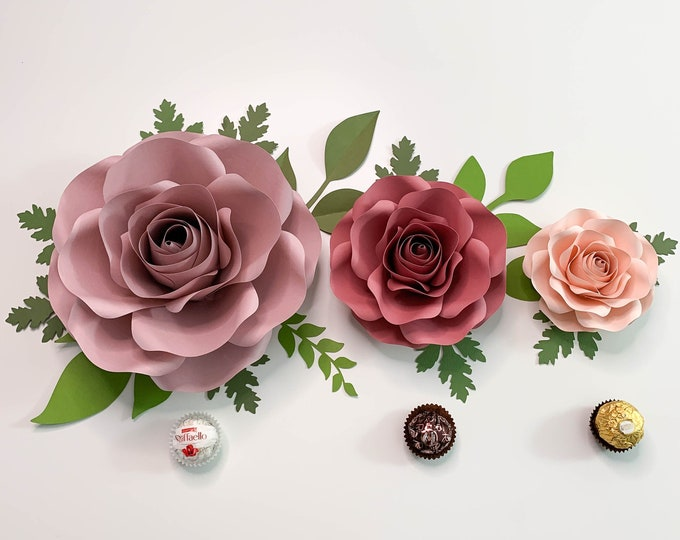 "SVG CUT FILES of Small Mini & Nano Rose Paper Flower Template DiY Cricut and Silhouette machines ready Center Bud included 8-9"" and 5-6"""