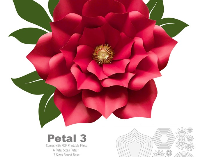 PDF Petal 3 Printable Paper Flowers Templates 3d and DIY Paper flower for Wedding Event Decor Printable Trace cut Files handmade decor