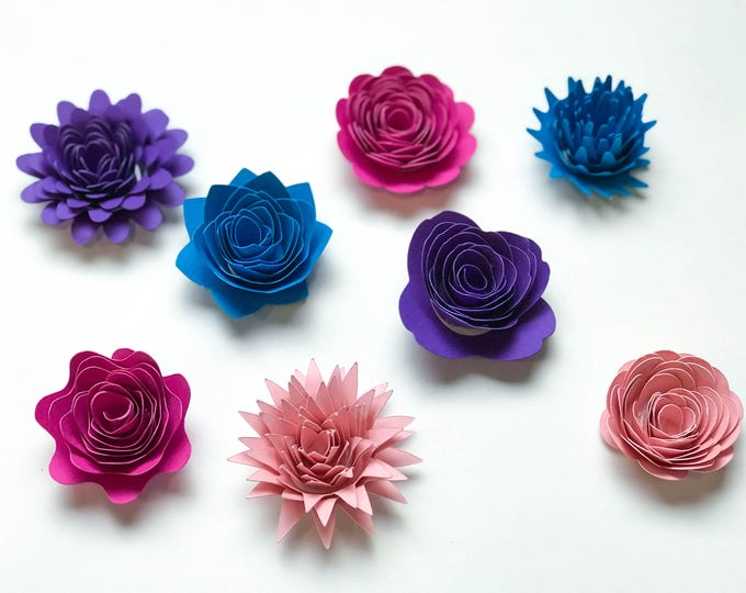 Paper Flowers -SVG/PNG Set 1 Swirl Rosette Paper Flower Template- DIY Cricut and Silhouette machines ready-