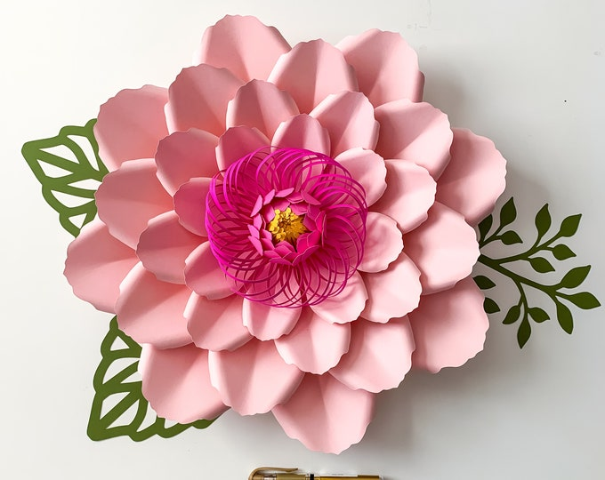 PDF Petal #66 Paper Flower Template Comes with Flat Center, Round & Hexagonal Base Instant download Printable Paper Flower Template kit