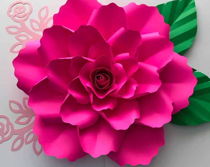 Paper Flowers -PDF Petal #99 Elegant Rose Paper Flower Template With Center, Original Design by Annie Rose