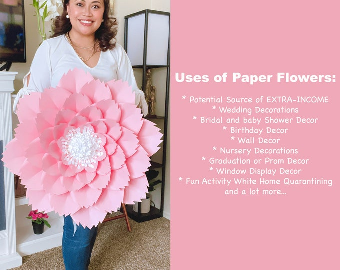 Petal 46 PDF Printable Trace and Cut Files Giant Paper Flower Template | Flower Pattern | 3D Flower Stencil Ideal Nursery Decor or Gifts