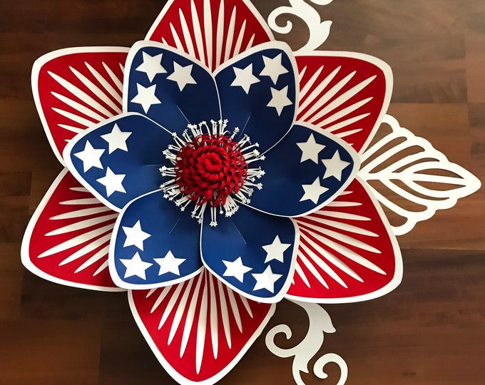 SVG/DXF for 4th of July Flower/Paper Flowers/Paper Flower Templates 4 Cutting Machines/DIY Giant Paper Flower Design/fluffy center included
