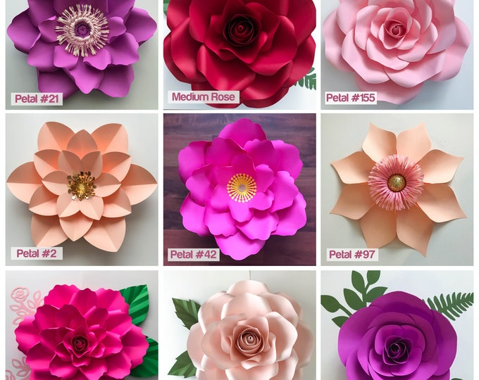 Paper Flowers, SVG 11  Flower Template Set, Files for Cutting Machines like Cricut and Silhouette, My TO GO Paper Flower Designs for Wall