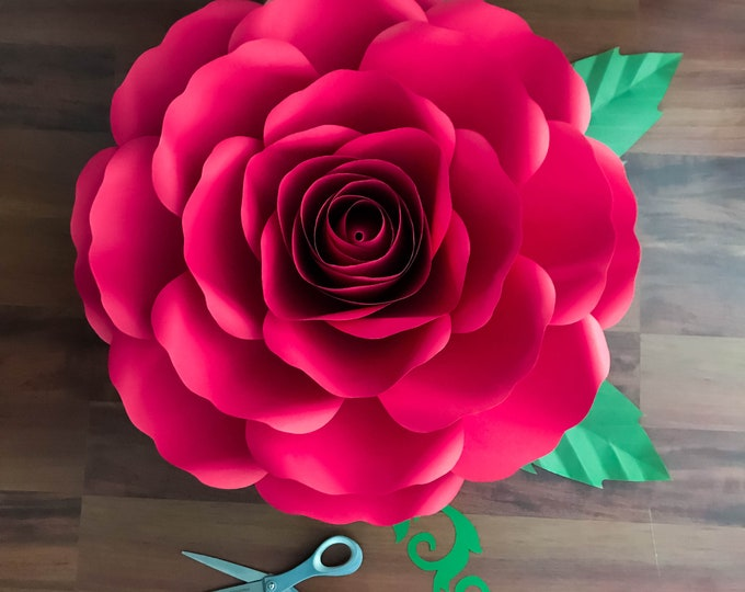 SVG-DXF A4 XL Rose Paper Flower Template Diy Cricut and Silhouette machines Center Bud included for Paper Flowers for wedding & event decor