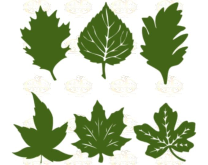 Set 18 Svg Png Dxf 6 Autumn type Leaves for Paper Flowers- MACHINE use Only (Cricut and Silhouette) DIY and Handmade Leaves Templates