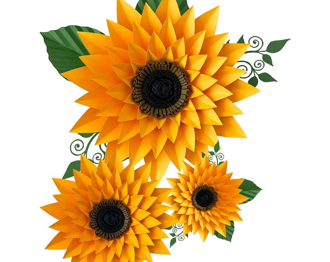 SVG DXF PNG Petal 44 Sunflower Paper Flower Template Diy Cricut and Silhouette machines ready 2 center components included Paper Flowers