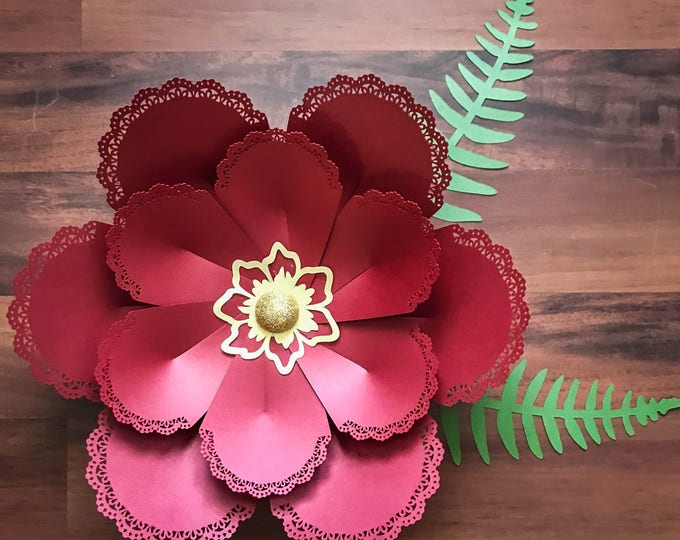 SVG Lace Petal#2 Flower Template with SVG Flat Center #21 included, Digital Version, Original Design;- Cricut and Silhouette Ready