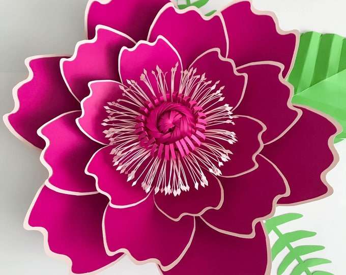 Paper Flowers -SVG Petal #7 Paper Flower Template with Base, DIGITAL file for Cutting Machines Such as Cricut and Silhouette Cameo
