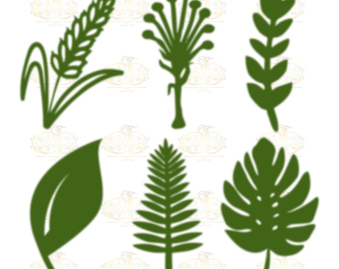 SET 6 Svg PNG Dxf 6 different Leaves for Paper Flowers- Machine use Only (Cricut and Silhouette) DIY and Handmade Leaves Templates