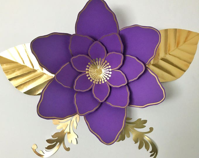 Paper Flowers -PDF Petal #61 Paper Flower Template with Base, DIGITAL Version - The Royal Violet - Original Design by Annie Rose