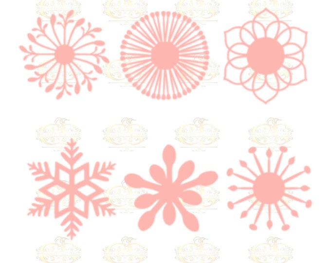 Set 2 SVG Png Dxf -6 different Flat Center for Paper Flowers- MACHINE use Only DIY and Handmade Giant Paper Flower Templates
