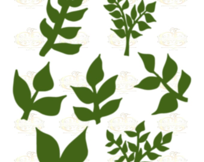 Set 16 Svg Png Dxf 7 different Leaves for Paper Flowers- MACHINE use Only (Cricut and Silhouette) DIY and Handmade Leaves Templates