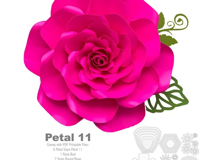 PDF Petal 11 Paper Flower template w/ Rose Bub Center Instant Download Printable Cut & Trace Stencil DIY 19-21 inches Rose + Centers n Bases