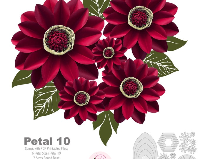 PDF Petal 10 Paper Flowers Printable Template Comes with Flat Center Round & Hexagonal Base Instant download Paper Flower Template kit