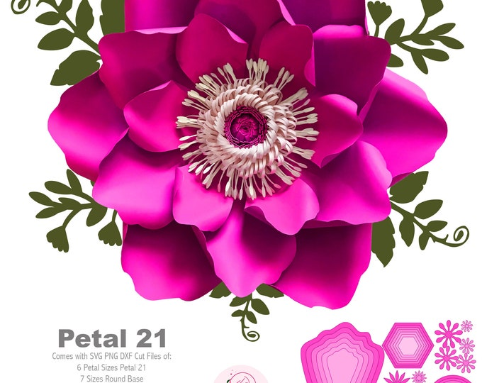 SVG PNG DXF Petal 21 Paper Flowers Template  6 sizes Base 5 Sizes Flat Center Digital file for Cutting Machines Instant Download Diy craft