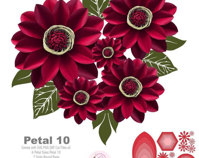 SVG PNG DXF Petal 10 Cut files Giant Paper Flowers Template Stencil Kit No Resizing Needed for Cricut and Silhouette Cameo Cutting Machines