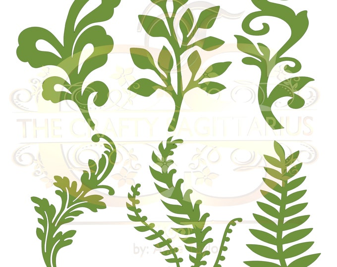 Svg PNG Dxf Set 10-6 different Leaves for Paper Flowers- MACHINE use Only (Cricut and Silhouette) DIY and Handmade Leaves Templates