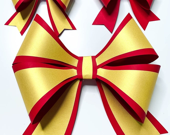 Paper Holiday Bow | DIY Christmas Ornaments | SVG Cut Files | Cricut Silhouette Paper Craft Project | 3D Paper Flowers | Petal Templates